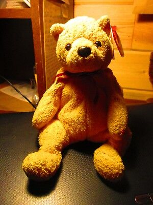 Ty Beanie Baby ~ Poopsie March 31, 2001 Golden Pooh Looking Bear