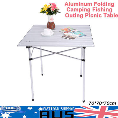 Roll Up Table Aluminum Folding Portable Camping Outdoor Picnic Garden BBQ Party