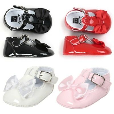Newborn Baby Girls Anti-slip Bling Crib Pram Shoes Bow Soft Sole Prewalker UK