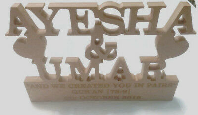 MDF Wooden Wedding / Name Freestanding Stand Heart (custom made) 3 Lines etched