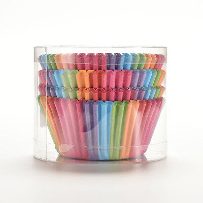 100X Mini Rainbow Paper Baking Cups Cupcake Liners Muffin Cupcake Paper Cases HW