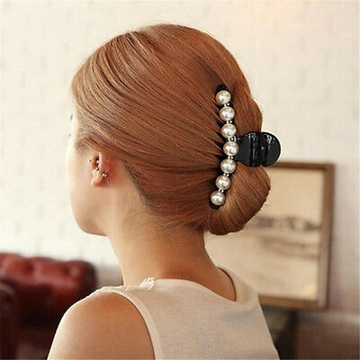 Women Lady Girl Pearl Crystal Hair Clip Clamp Claw Haedpiece Hair Accessory HW