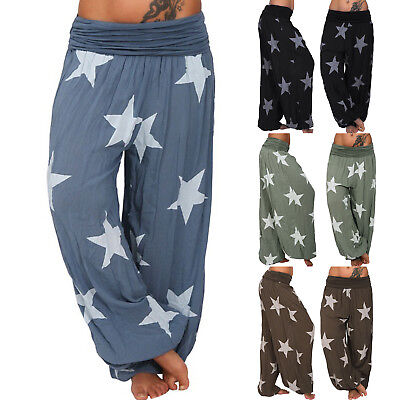 Womens Casual Hippe Harem Trousers Star Floral Printed Pants Elastic Plus Size