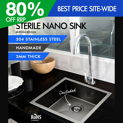 Cefito 440x440mm Nano Handmade Stainless Steel Sink Kitchen Black Single Bowl