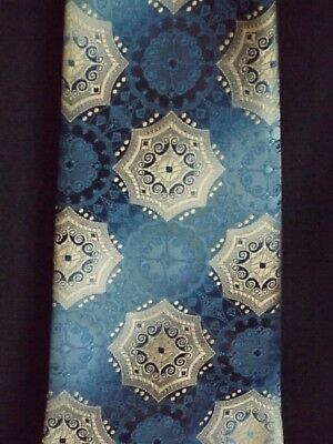 Vintage Retro Blue & Silver Mens Tie 12cm wide, by Duralon - Stunning colour