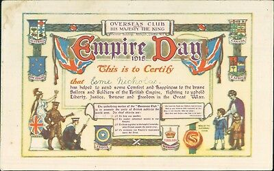 Esme Nicholas. GB WW1 1915 OVERSEAS FORCES GIFT CERTIFICATE. EMPIRE DAY A4.1448