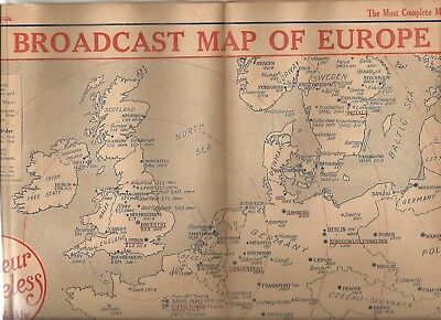 Amateur Wireless- Broadcast Map of Europe 1926