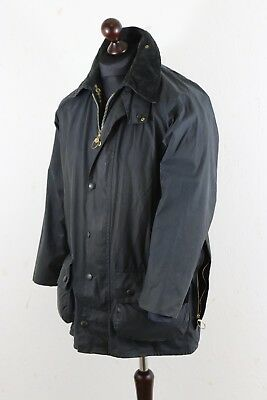 Vntg BARBOUR BEAUFORT Waxed JACKET size C 38  / 97 cm Navy Made in England