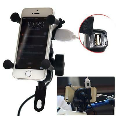 X-Grip RAM Motorcycle Bike Car Mount Phones Holder USB Charger For Mobile Phone
