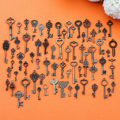 Set of 69 ELDER Vintage Old Look Bronze Skeleton Keys FASHION Heart Bow Pendant