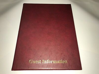 Qty 1 Pvc BURGUNDY LEATHER LOOK GUEST INFORMATION FOLDER - TOP QUALITY
