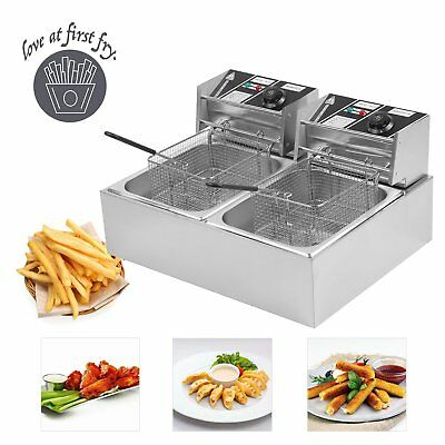 20L Commercial Deep Fryer w/ Timer and Drain Fast Food French Frys Electric SK