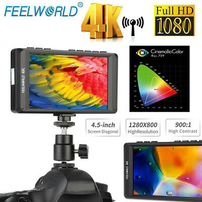 "Feelworld FW450 4.5"" IPS 4K HDMI On-Camera Field Video HD LCD Monitor 1280x800p"