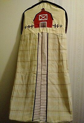 Hanging diaper holder / Stacker with Matching Valance ** Barn theme **