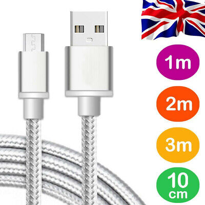 Braided Quick High Speed Charge Micro USB Charging Lead Power Data Cable 2m 3m