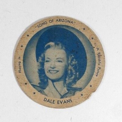 Dale Evans in Song of Arizona 1940's Hygeia Dixie Ice Cream Lid Movie Star