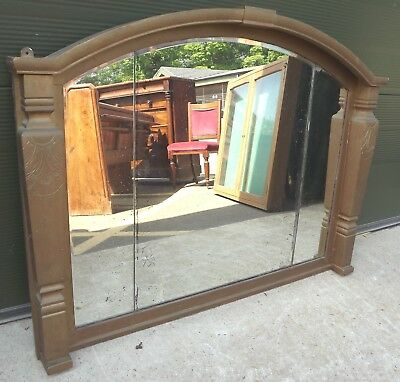 Antique Georgian Overmantle Wall Mirror with Carved Gilt Frame - Needs Some TLC