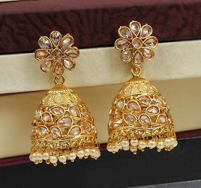 Hair & Head Jewelry Jewelry & Watches Indian Ethnic Gold Tone Antique Jhumki Earring Partywear Bollywood Fashion Jewel