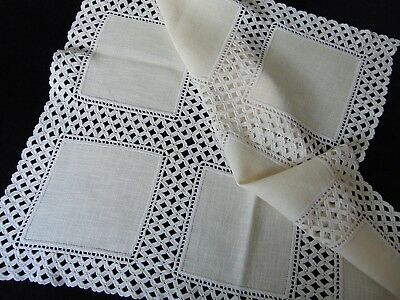 VINTAGE UNUSED HAND CROCHETED INSET & EDGES HEAVY COTTON TABLECLOTH 79 X 79 cm