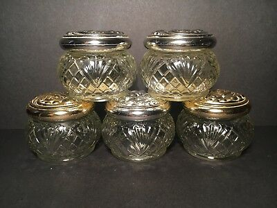 Bulk Lot Of 5 Vintage Avon Glass Perfume Cream Pots Vanity Jars Trinket Box