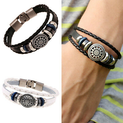 Leather Women/Men Cute Cool Braided Cuff Wrap Bracelet Jewelry Punk Wristband