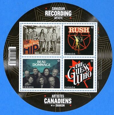 2013 Canada #2655 Canadian Recording Artists Souvenir Stamp Sheet Mint-NH