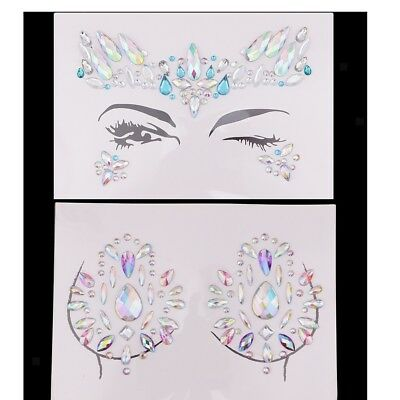 2pc Brust Gesichts Temporary Tattoo Jewels Glitter Strass Aufkleber Charms