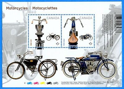2013 Canada #2646 1908 CCM 1914 Indian Motorcycles Stamp Souvenir Sheet Mint-NH