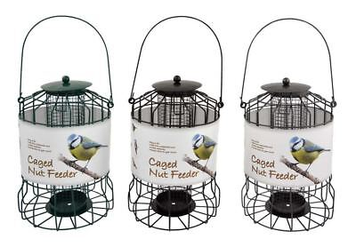 Wild Bird Spike Garden Outdoor Feeding Station with 3 Domed Caged Nut Feeders
