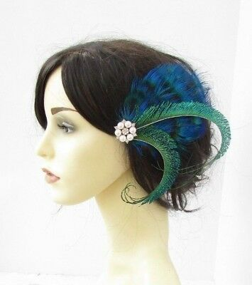 Ivory Rose Gold Blue Green Peacock Feather Fascinator Hair Clip Races 1920s 6174
