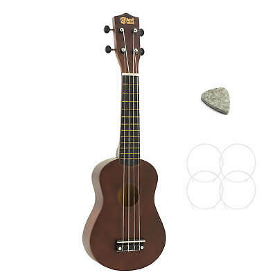Soprano Ukulele - Dark Wood Natural Inc FREE Pick and Strings
