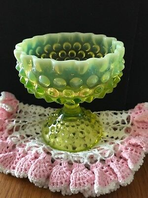 "Fenton Vaseline Opalescent Art Glass Hobnail Compote Candy Dish Topaz 5 3/4"" H"
