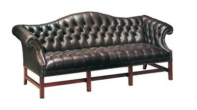 Tufted Chippendale Sofa Full Leather Federal Blue, camel back