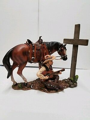 Country Western Cowboy With Guitar and Horse Statue