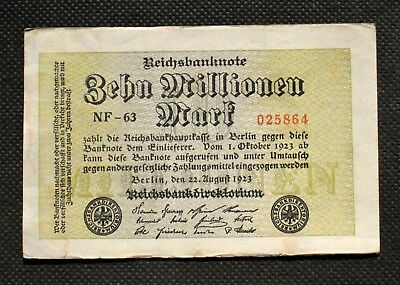 Old Banknote Of Germany 10,000,000 Mark 1923  Berlin Hyperinflation Nf-63 025864