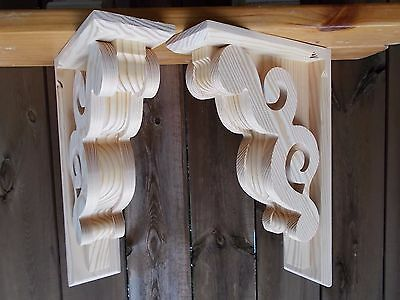 PAIR Victorian Design Wood Corbels...11 x 17 x 4 (#6111D)