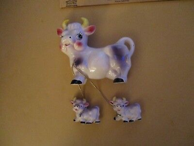 Vintage Japan Kreiss Purple Cow & with 2 Calves attached by a chain