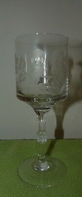 Stunning Cut glass etched stemmed Wine glass goblet owl design bird