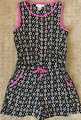 Japna Kids Girls Romper Size Large 14 Black With White Pattern & Hot Pink