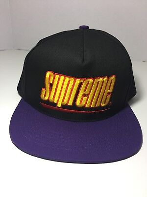 cd544a356adc0 SUPREME NEW YORK SS18 Underline 5-Panel Hat Cap Black and Purple ...