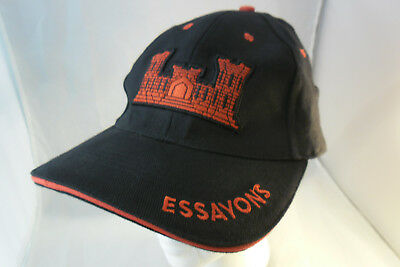 US Army Engineers Essayons Castle Black and Red Ball Cap; VGC, Clean, SHIPS FREE