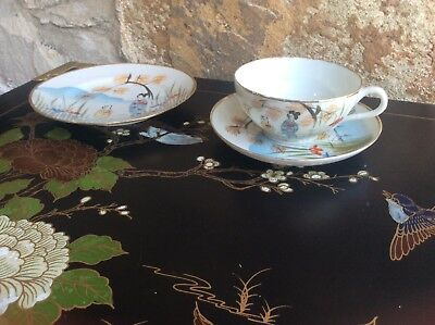 Vintage Japanese Oriental Plate ~ Cup & Saucer Paper Thin Eggshell Mark to Bases