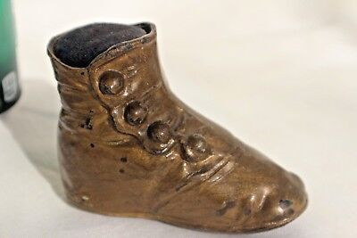 ANTIQUE VICTORIAN CHILD'S BUTTON UP SHOE PIN CUSHION baby boottee VERY UNUSUAL!
