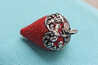 Antique Unger Brother Chatelaine Sterling Silver Strawberry Emery Pin Cushion