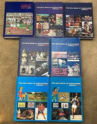 Lot Of 7 Grolier New Book of Knowledge Annual Encyclopedia 1973-1979 ~ Free Ship