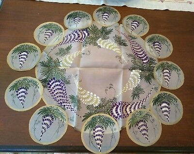 Deco era hand painted silk wisteria centerpiece & 12 smaller mats Maruyama Japan