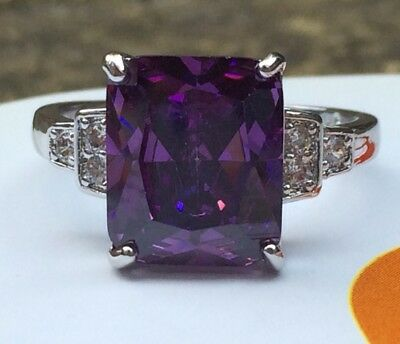 Art Deco Vintage 925 Sterling Silver Amethyst Cocktail Ring / White Sapphire R