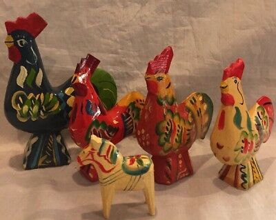 "Vintage Dala Roosters &Pony Hand Carved & Painted Sweden 4 1/2"",3@3 1/2"",2""Pony"