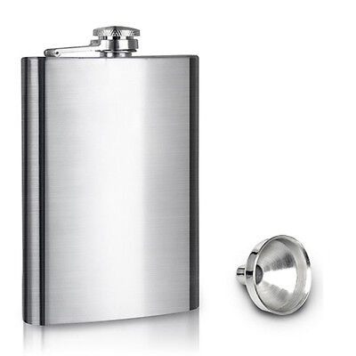 8oz Stainless Steel Hip Liquor Whiskey Alcohol Pocket Flask with Portable Funnel