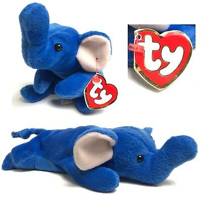 TY Beanie Babies Peanut The Royal Blue Elephant Retired 3rd Gen Tag Plush  Toy 49aa6d0ae322